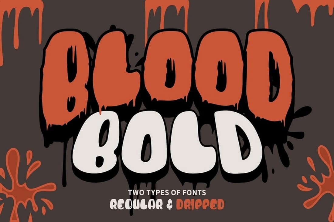 Blood-Bold-Fun-Halloween-Two-Fonts 30+ Best Fonts for Posters design tips