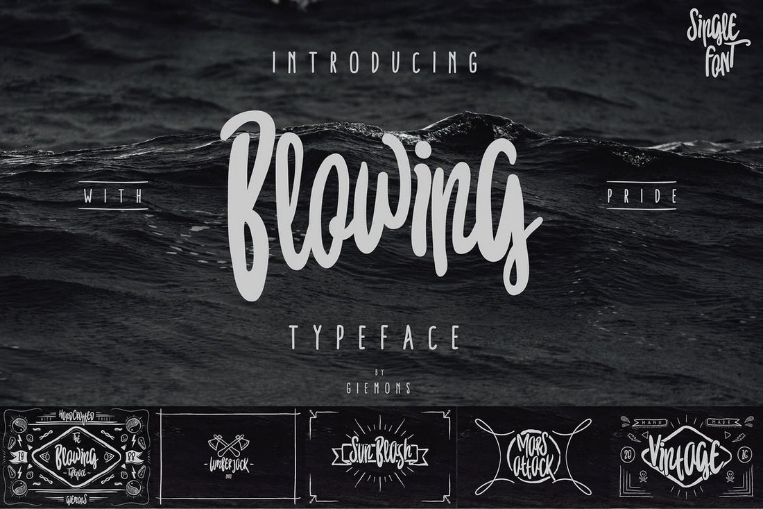 Blowing - Handmade Decorative Font