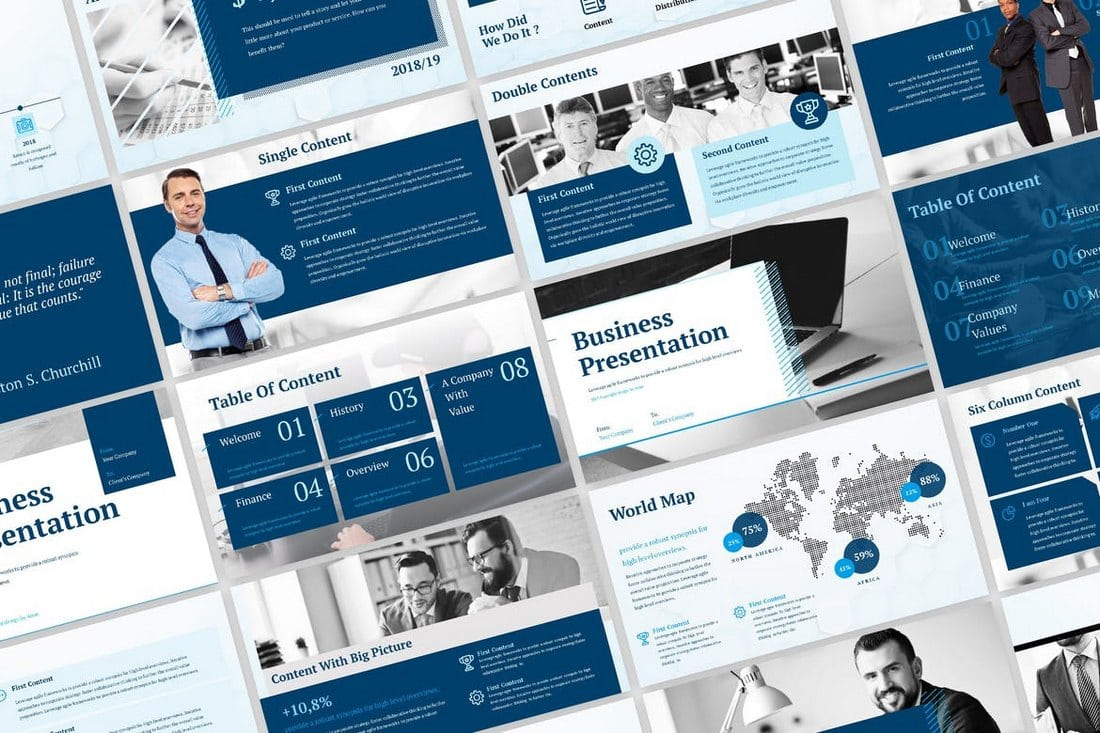 Blue-Business-Corporate-PowerPoint-Template 30+ Best Business & Corporate PowerPoint Templates 2021 design tips