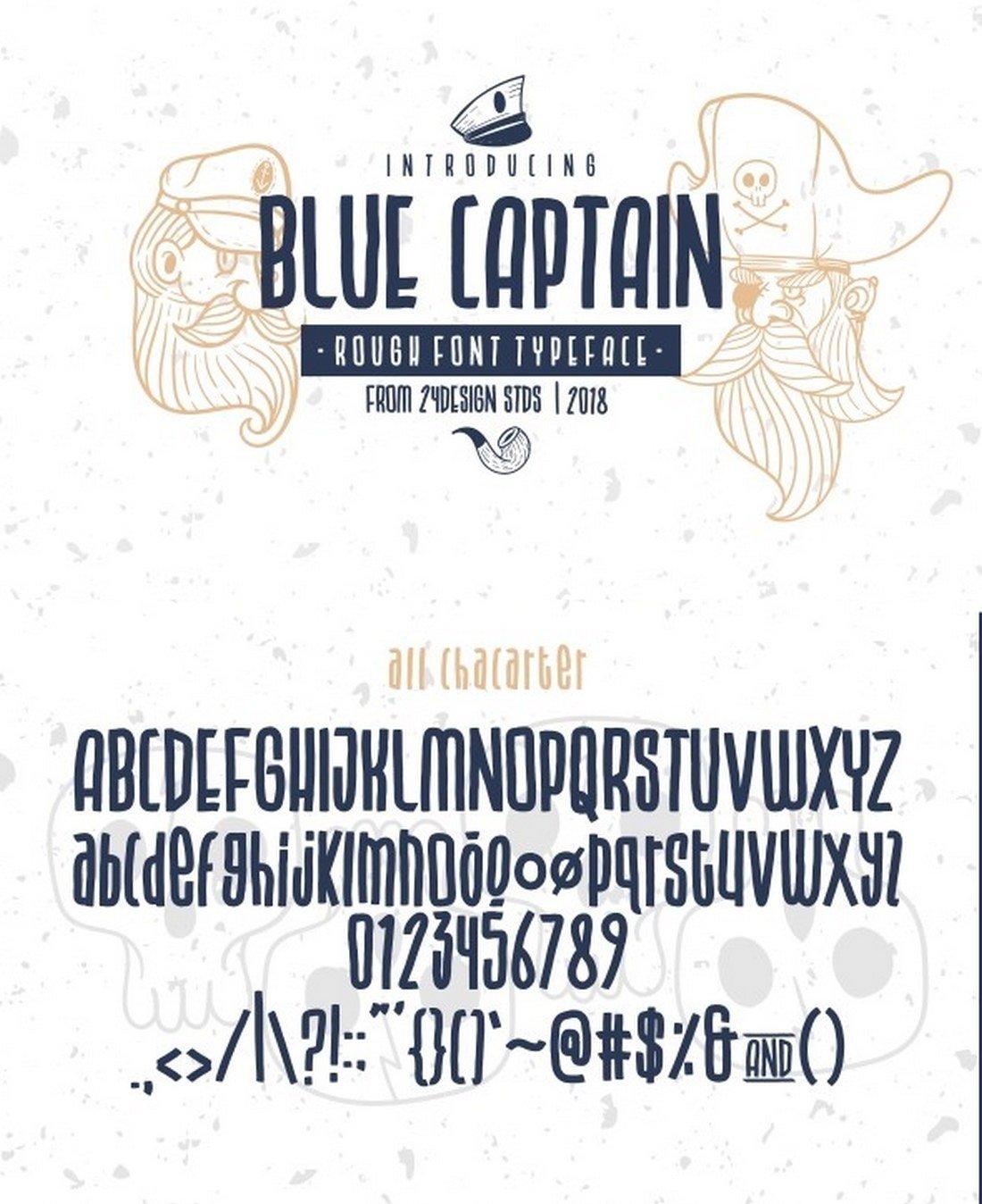 Blue Captain Rough Font