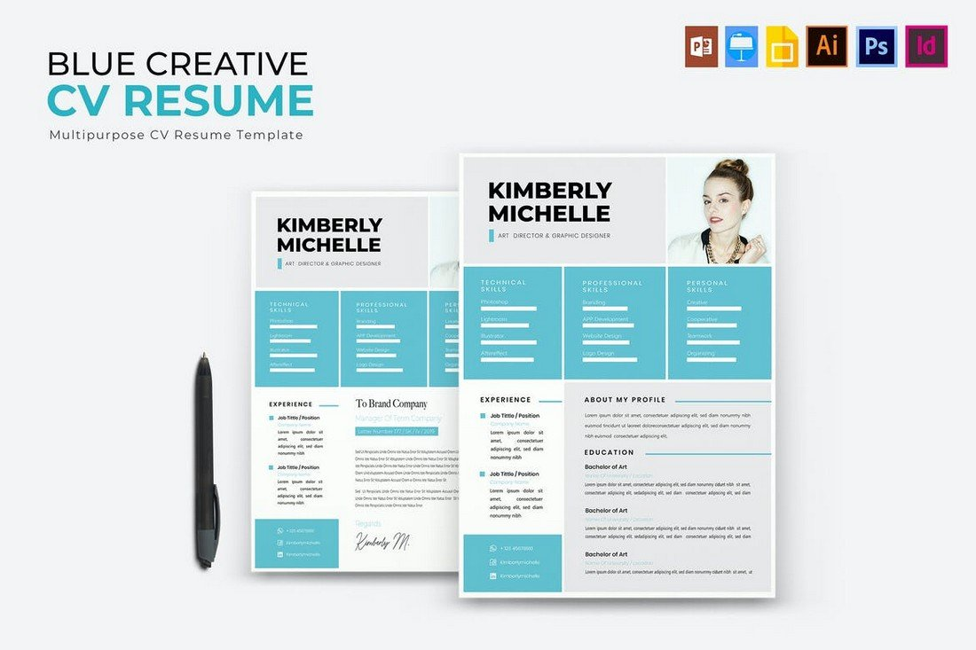 Blue Creative Apple Pages CV & Resume Template