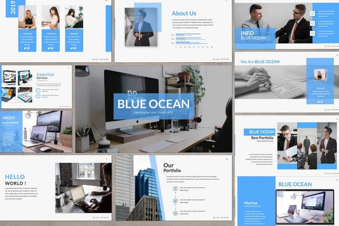Blue-Ocean-Business-Powerpoint-Template 20+ Simple PowerPoint Templates (With Clutter-Free Design) design tips  Inspiration|powerpoint