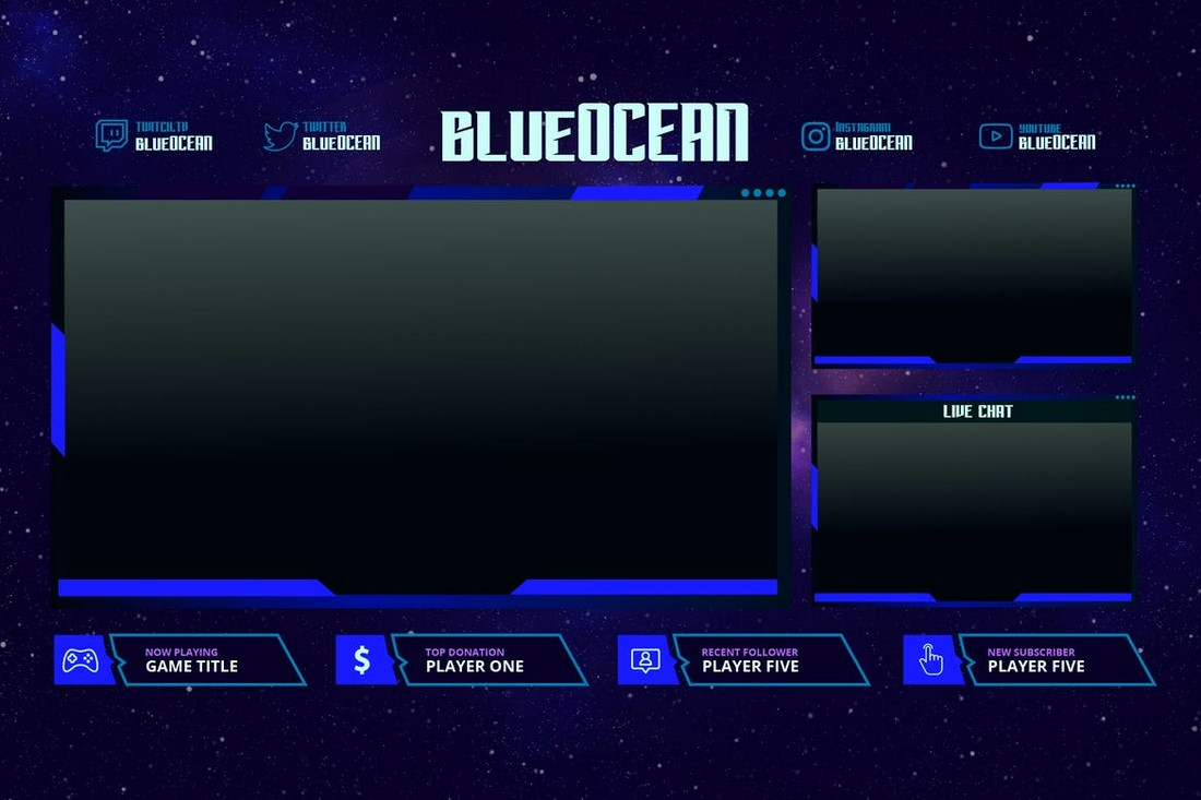 Blue Ocean - Twitch Stream Overlay Template