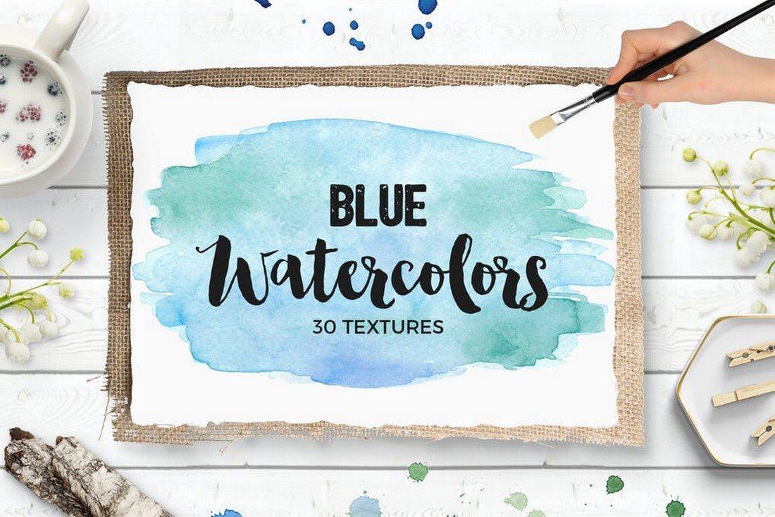 Blue-Watercolor-Textures-Bundle 30+ Best Watercolor Background Textures design tips