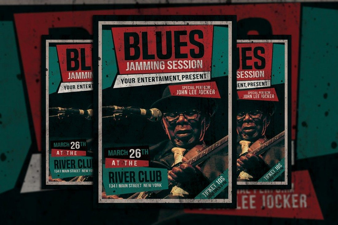 Blues-Music-Flyer 30+ Best Music & Band Flyer Templates design tips