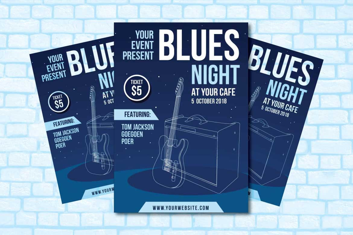Blues-Night-Club-Flyer-Template 30+ Best Event Flyer Templates design tips