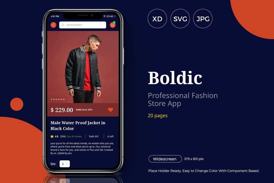Boldic - Fashion Store App UI Kit for Adobe XD