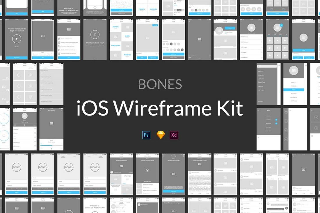 Bones - Minimal Adobe XD iOS Wireframe Kit