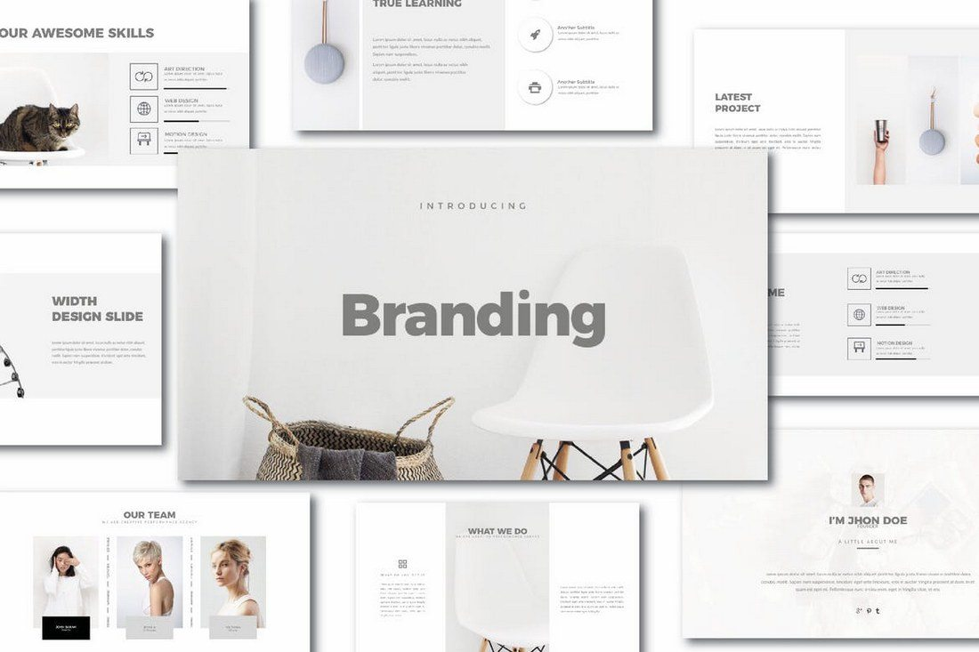 25 best minimal powerpoint templates 2018 design shack brand agency powerpoint template toneelgroepblik Image collections