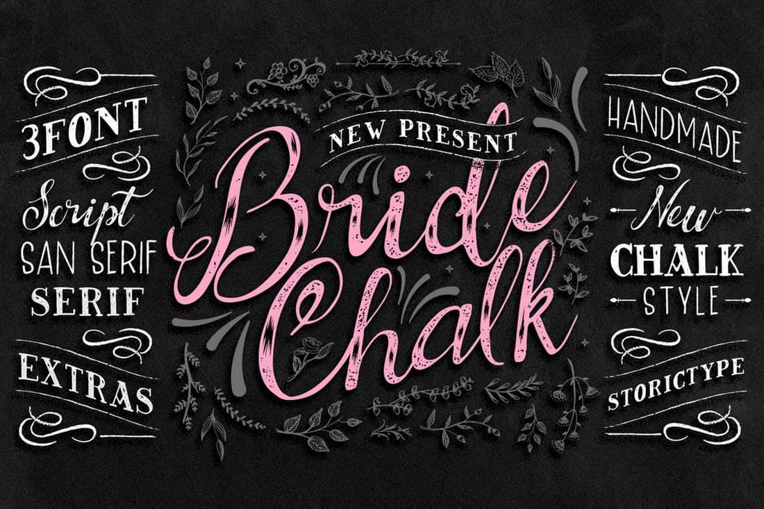 BrideChalk - 3 Chalkboard Fonts