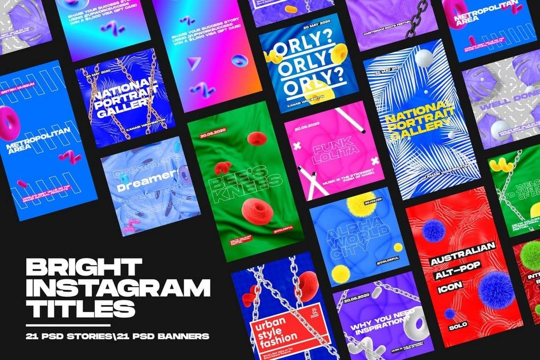 Bright Instagram & Social Media Titles Pack