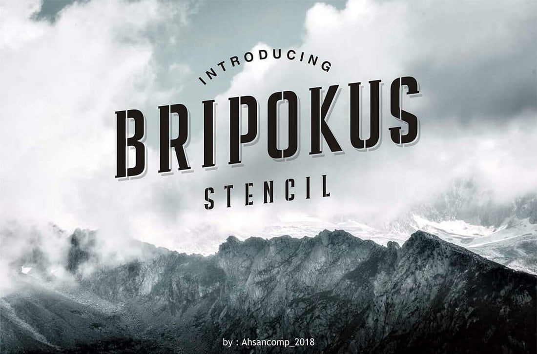 Bripokus - Free Stencil Font