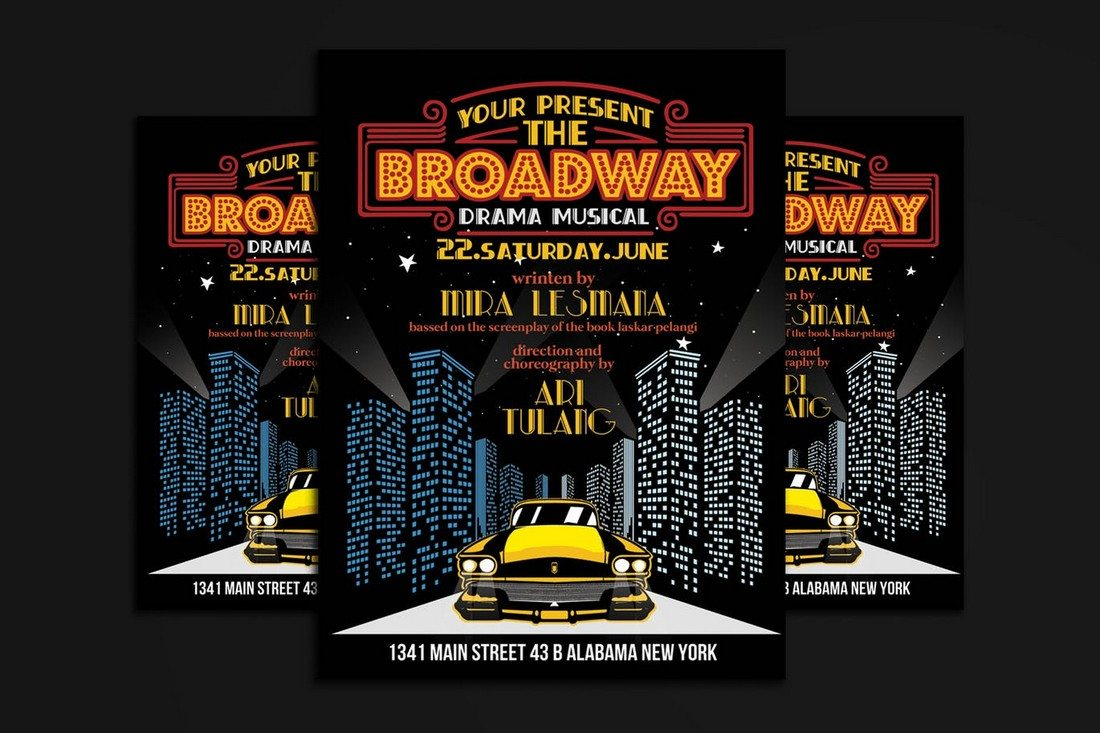 Broadway-Drama-Musical-Show 30+ Best Music & Band Flyer Templates design tips