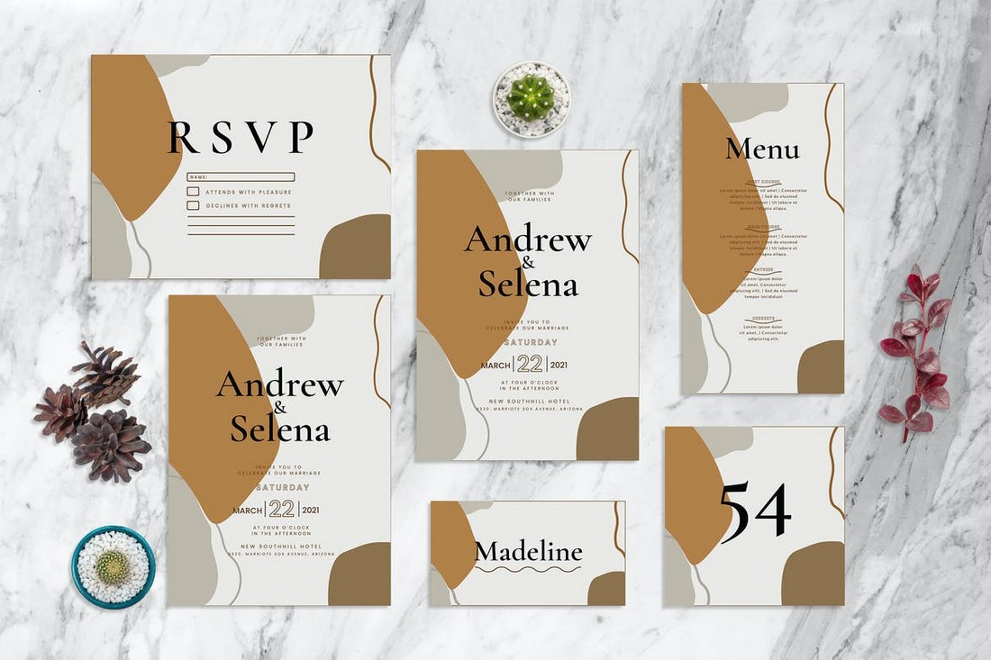 Brown and Grey Ink - Wedding Invitation Kit