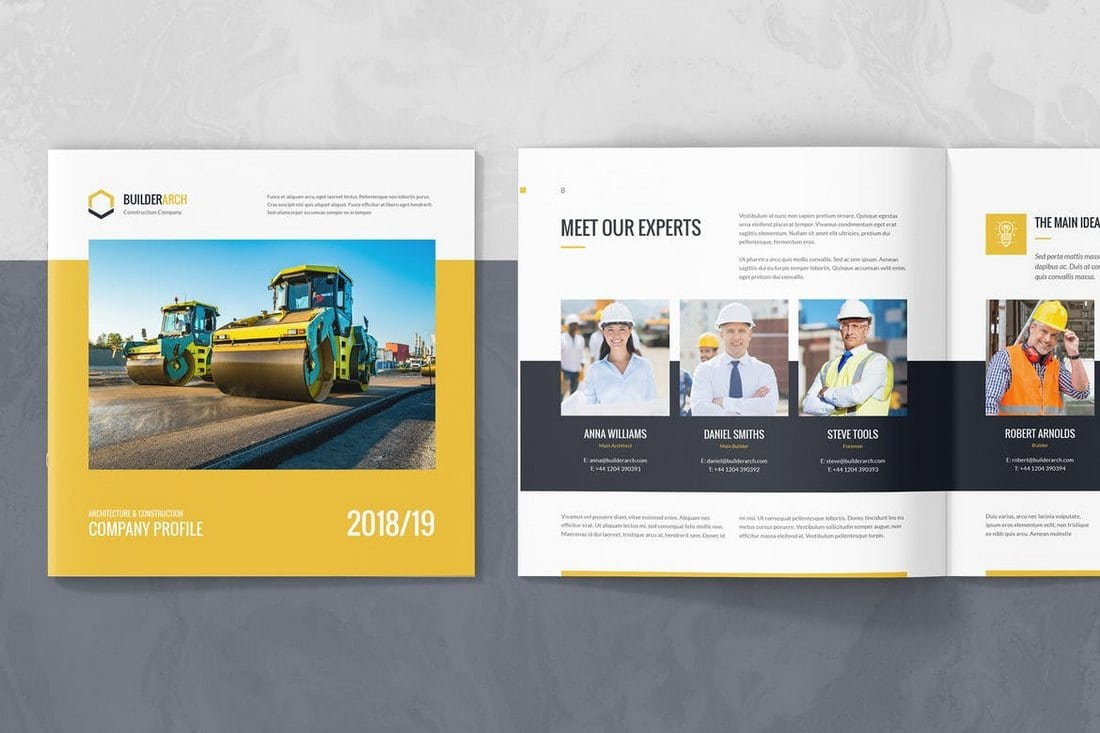 BuilderArch - Modèle d'entreprise de construction  20+ modèles de rapport annuel (Word & InDesign) 2019 BuilderArch     Construction Company Template