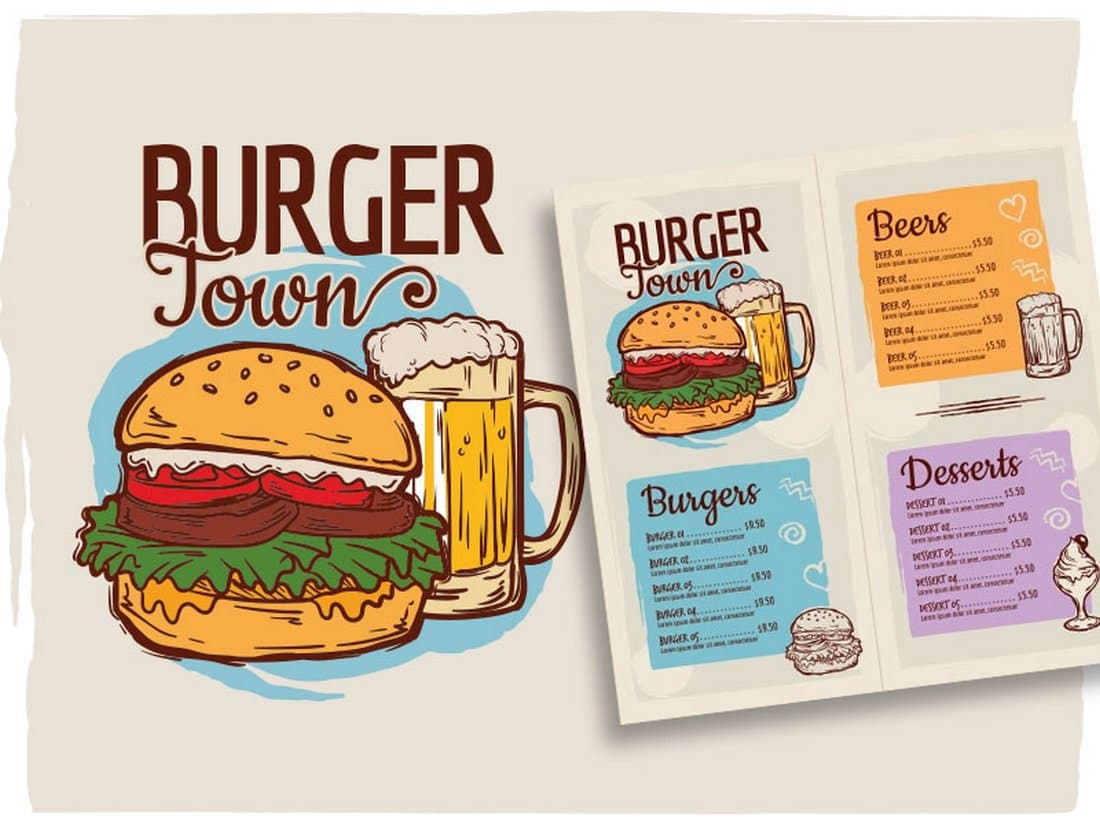 Burger Shop Menu Template