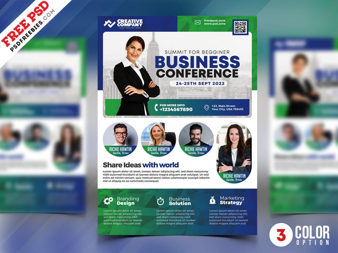 Business-Conference-Flyer-Poster-Template 20+ Best Free Poster Templates (Illustrator & Photoshop) 2020 design tips  Inspiration