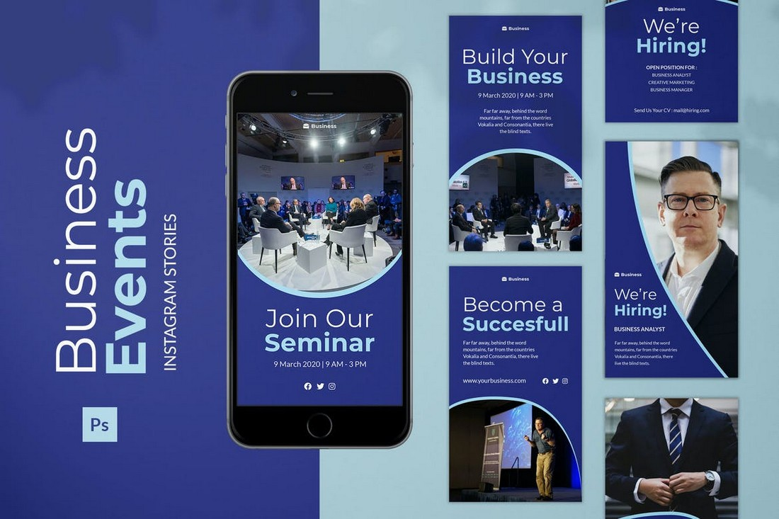 Business-Events-Instagram-Story-Templates-Kit 40+ Best Social Media Kit Templates & Graphics design tips