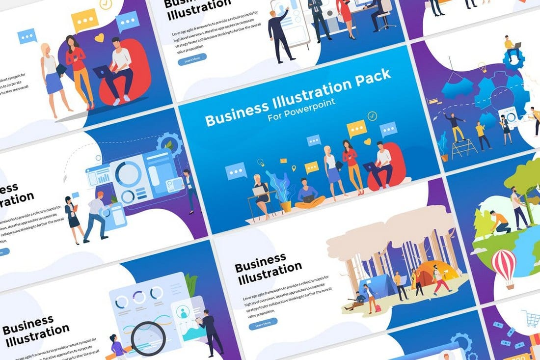 Business-Illustration-Modern-Colorful-PowerPoint-Template 30+ Best Business & Corporate PowerPoint Templates 2021 design tips