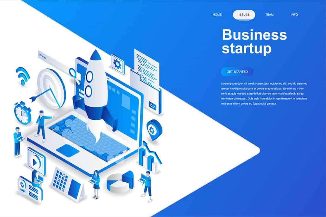 Business Isometric Background Template