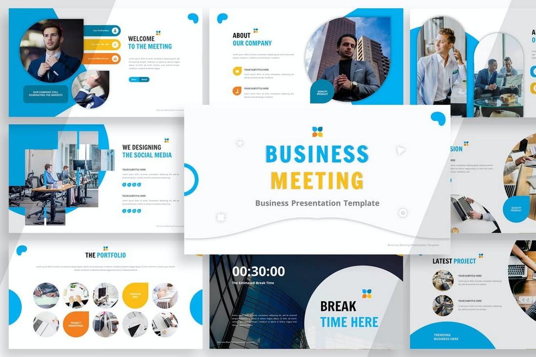 Business-Meeting-Powerpoint-Template 20+ Best Webinar PowerPoint Templates (Remote Presentation PPT Slides) design tips