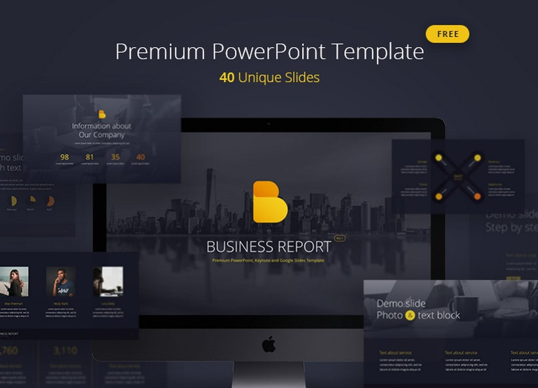 Business Report Free PowerPoint Template