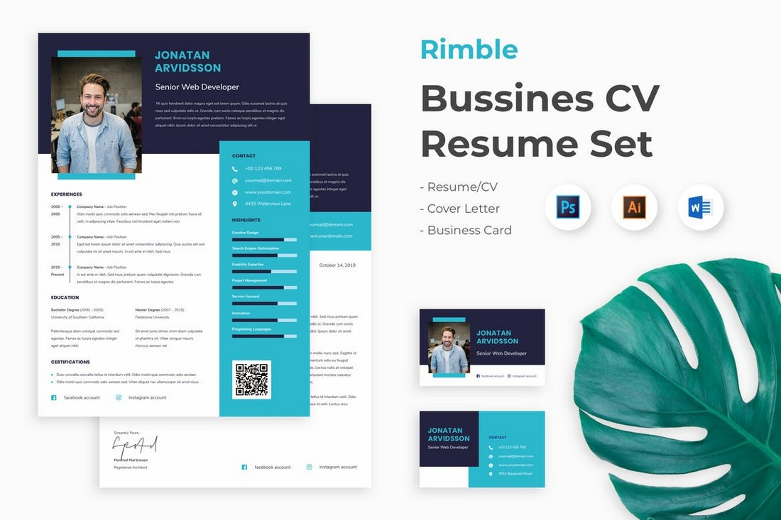 Business Word Resume & Cover Letter Template