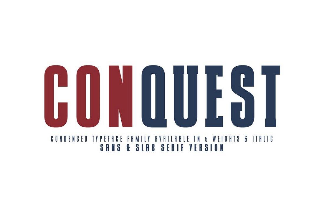 CONQUEST-Sans-Slab-Serif-Font 50+ Best Condensed & Narrow Fonts of 2020 design tips