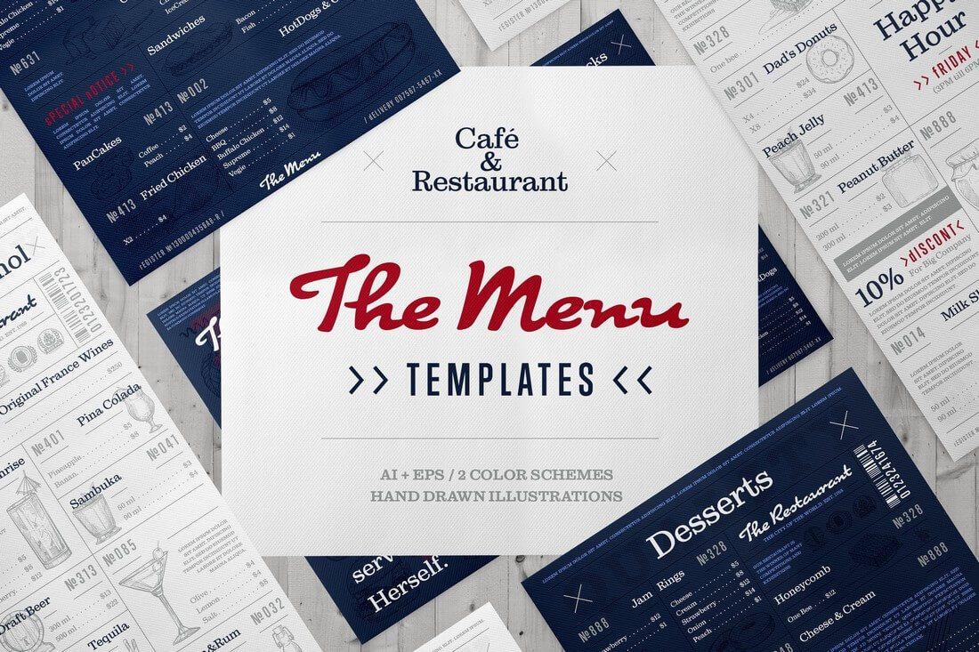 Caf%C3%A9-and-restaurant-menu-bundle 50+ Best Food & Drink Menu Templates design tips