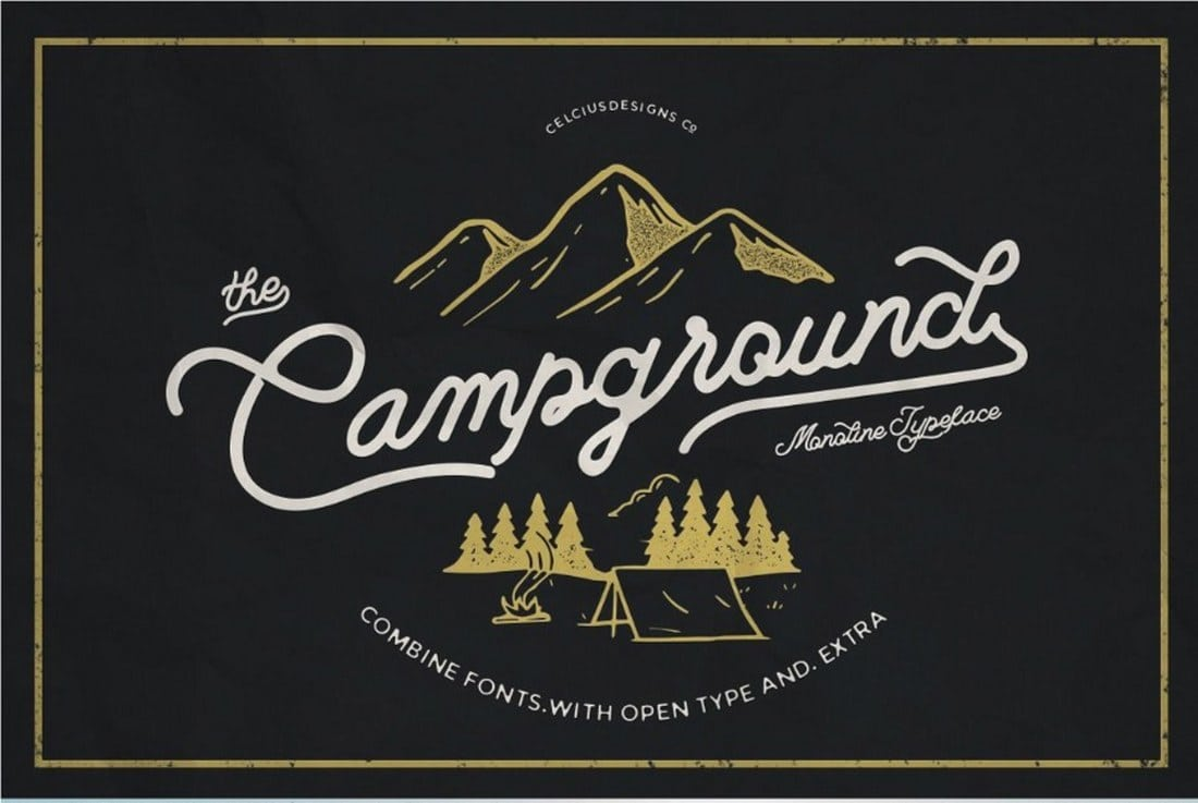Campground-Free-Monoline-Script 30+ Bold & Free Script Fonts design tips  Typography|fonts|script