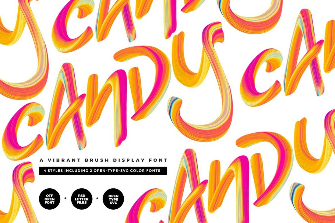 Candy - Vibrant Brush Color Font
