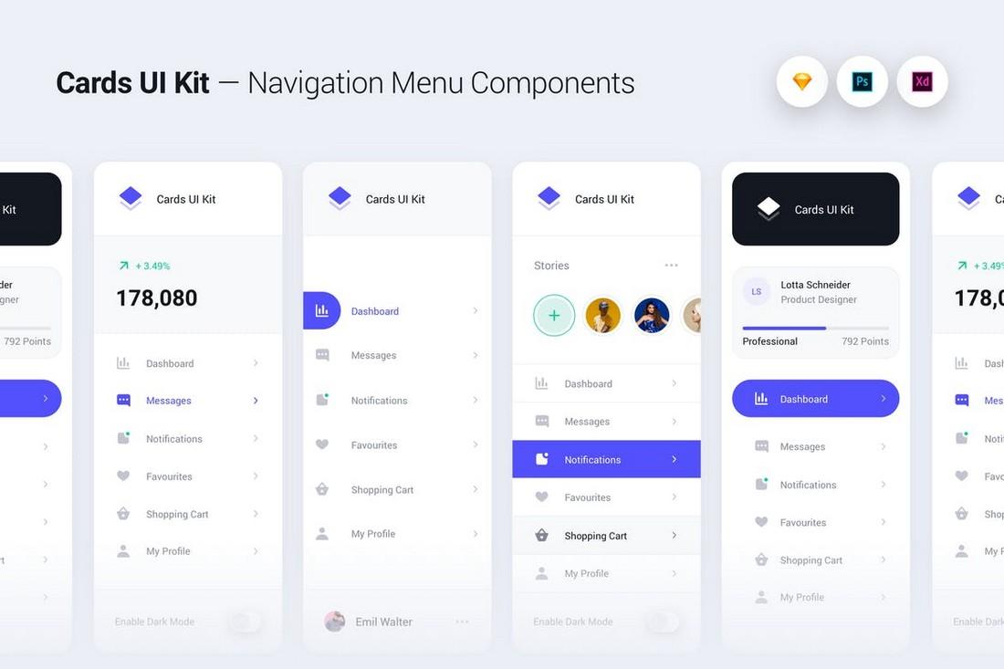 Cards UI Kit - Navigation Menu Components