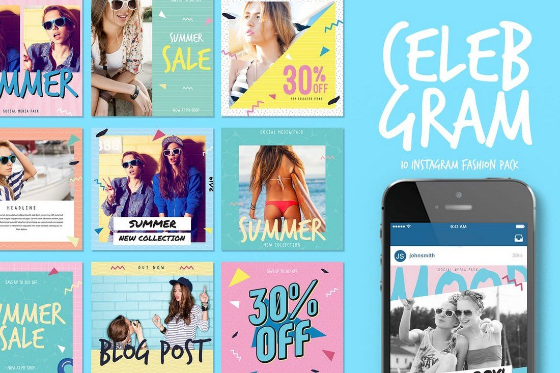 Celebgram-Instagram-fashion-Pack 20+ Best Social Media Kit Templates & Graphics design tips