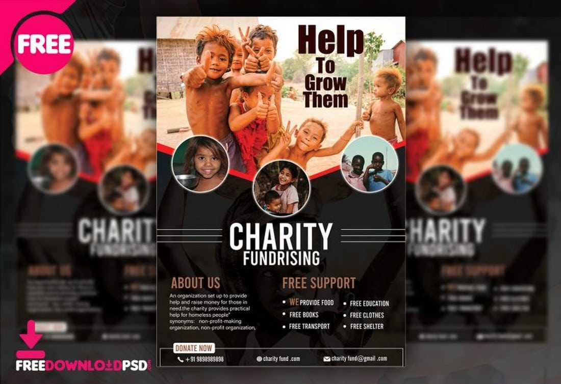 Charity-Fundraising-Flyer-Poster-Template 20+ Best Free Poster Templates (Illustrator & Photoshop) 2020 design tips  Inspiration
