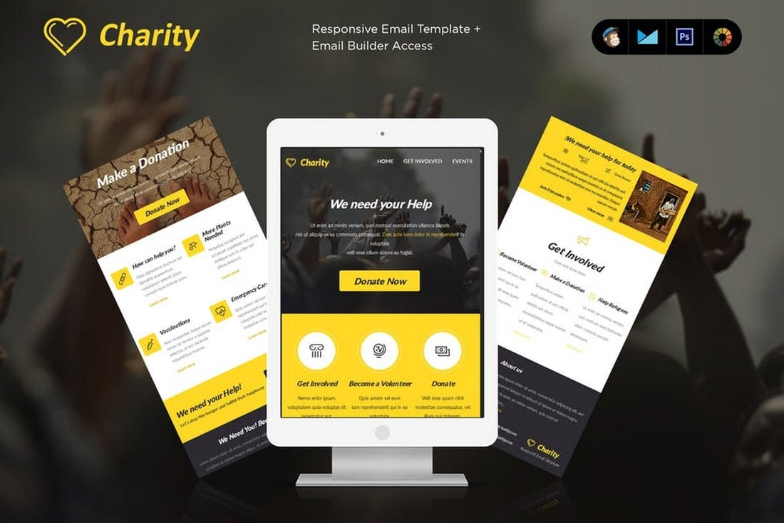 Charity-MailChimp-Email-Newsletter-Template 20+ Best MailChimp Email Newsletter Templates (Free + Premium) 2021 design tips