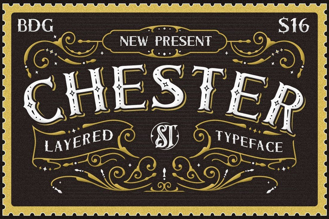Chester Is A Vintage Style Poster Font Family That Features Design Inspired By Old Postcard Stamps It Comes In 6 Different Styles Including Bold