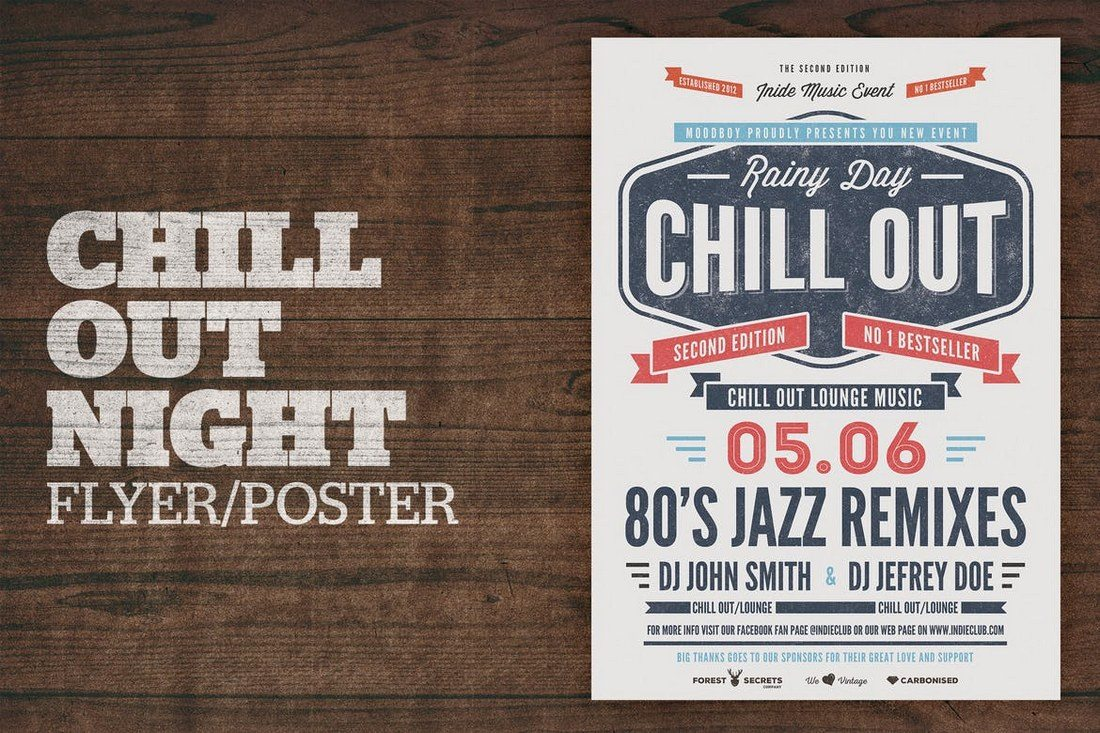 Chill-Out-Night-Flyer-Poster-1 27 Inspiring Letterpress Style Posters design tips