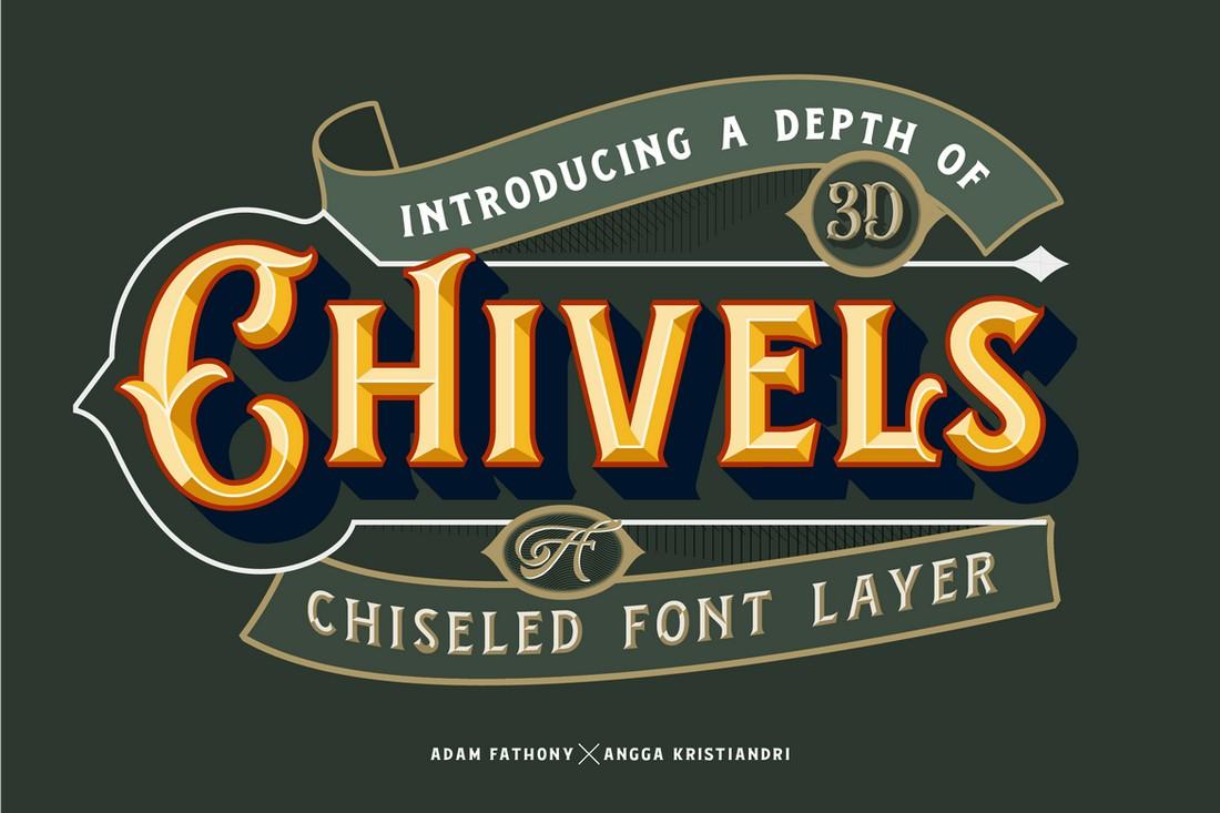 Chivels - Vintage Chiseled 3D Font