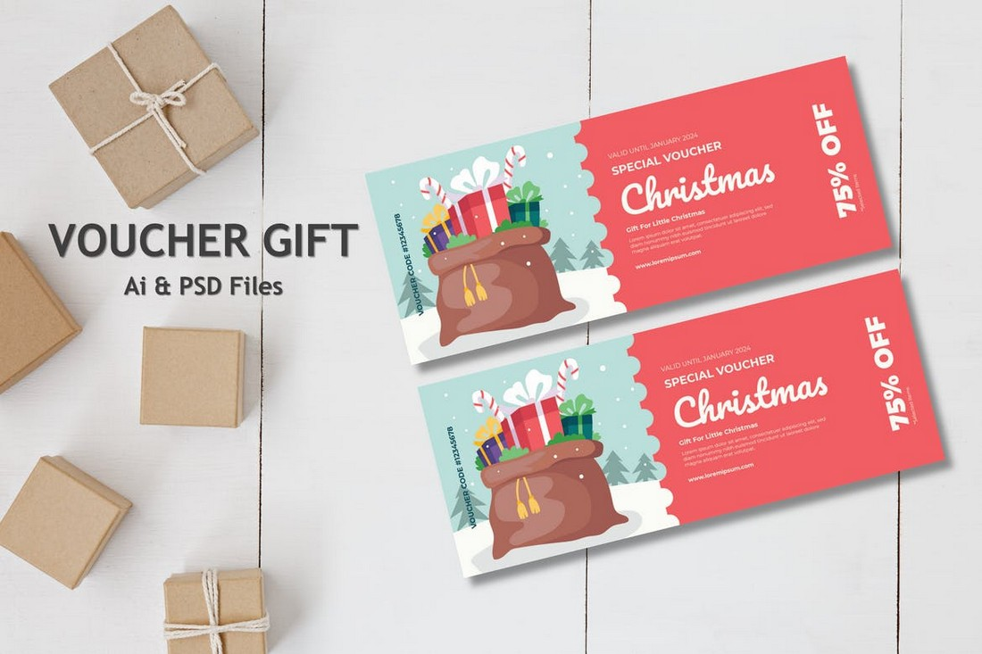 Christmas Sale Gift Voucher Template