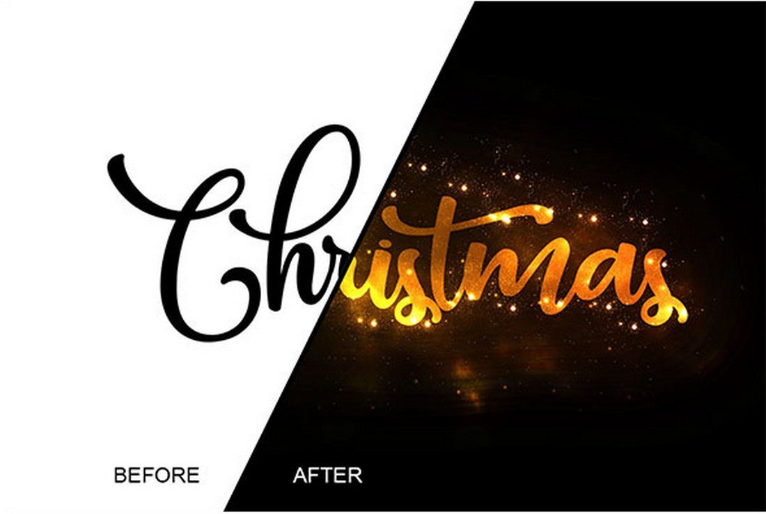 Christmas-Text-Effect-Photoshop-Action 15+ Christmas Photoshop Brushes, Actions & Text Effects design tips