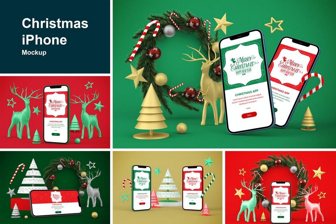Christmas-Themed iPhone Mockup Template