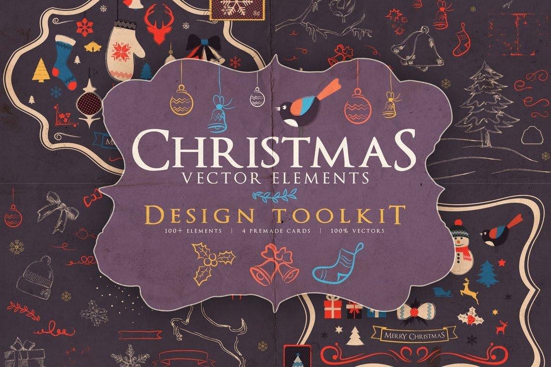 Boîte à outils des éléments vectoriels de Noël