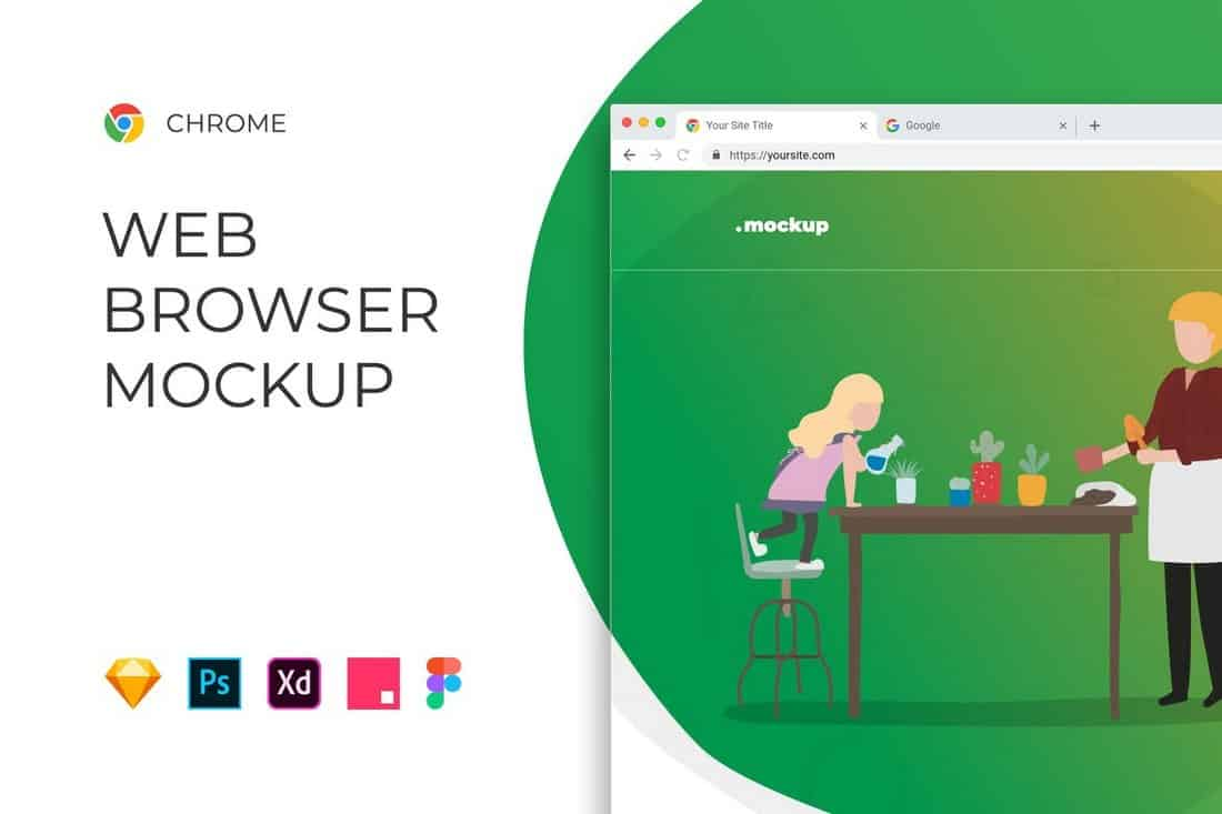 Chrome Browser Window – Website Mockup
