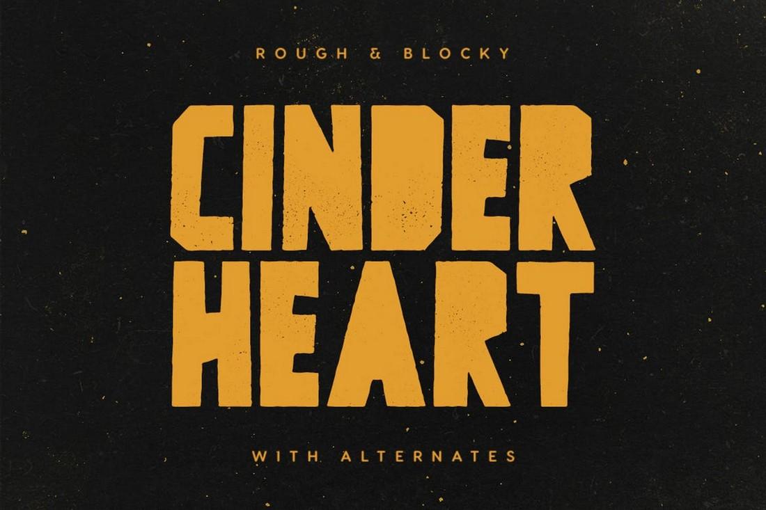 Cinderheart - Rough Blocky Font