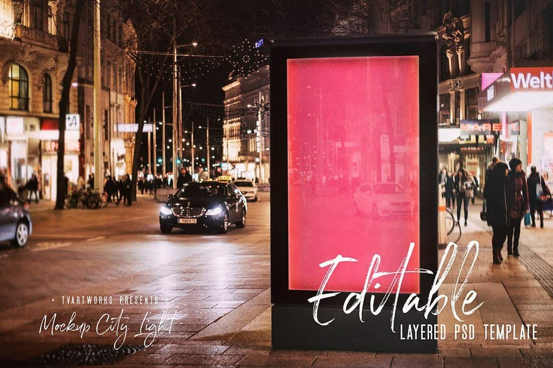 City-Light-Board-Poster-Mockup 30+ Best Poster Mockup Templates 2021 design tips