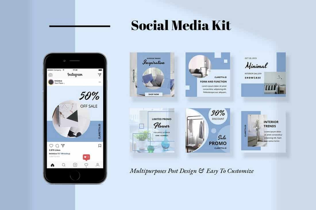 Claretta-Social-Media-Templates 40+ Best Social Media Kit Templates & Graphics design tips  Inspiration|facebook|social media|twitter