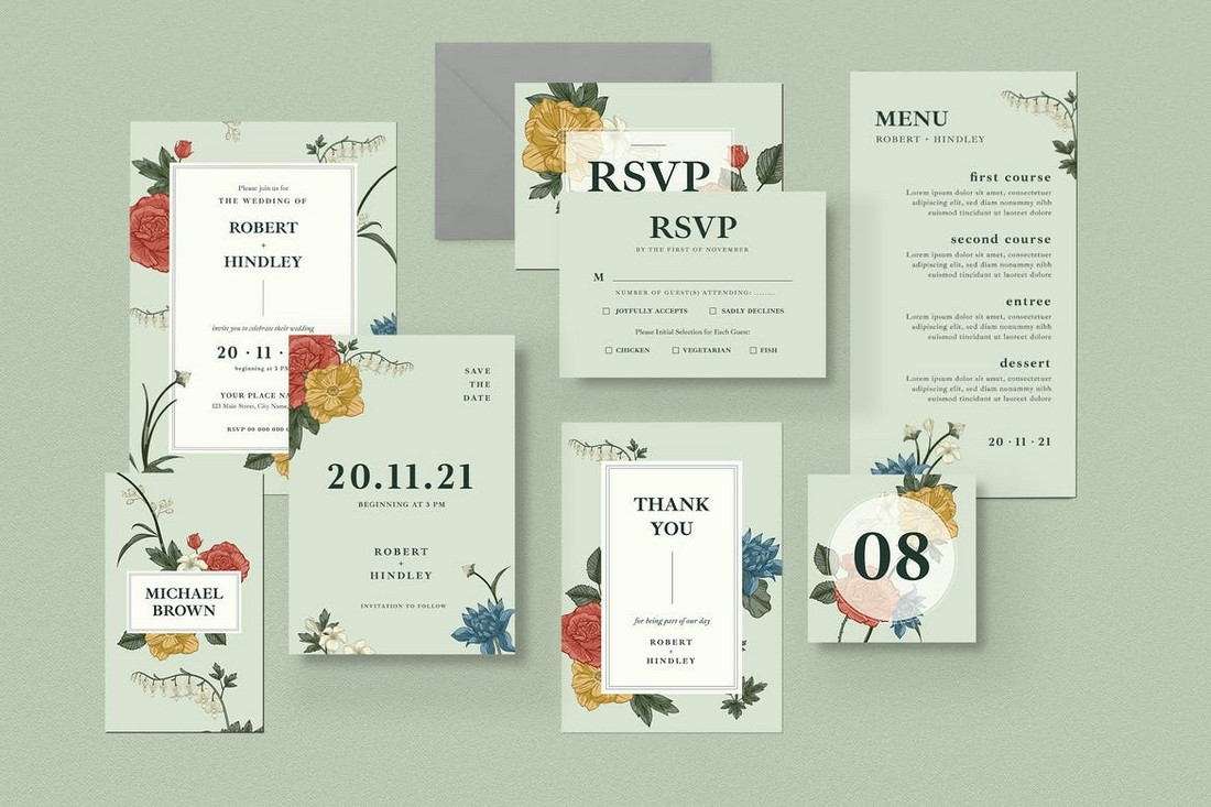 Classic Floral Weeding Invitation Set