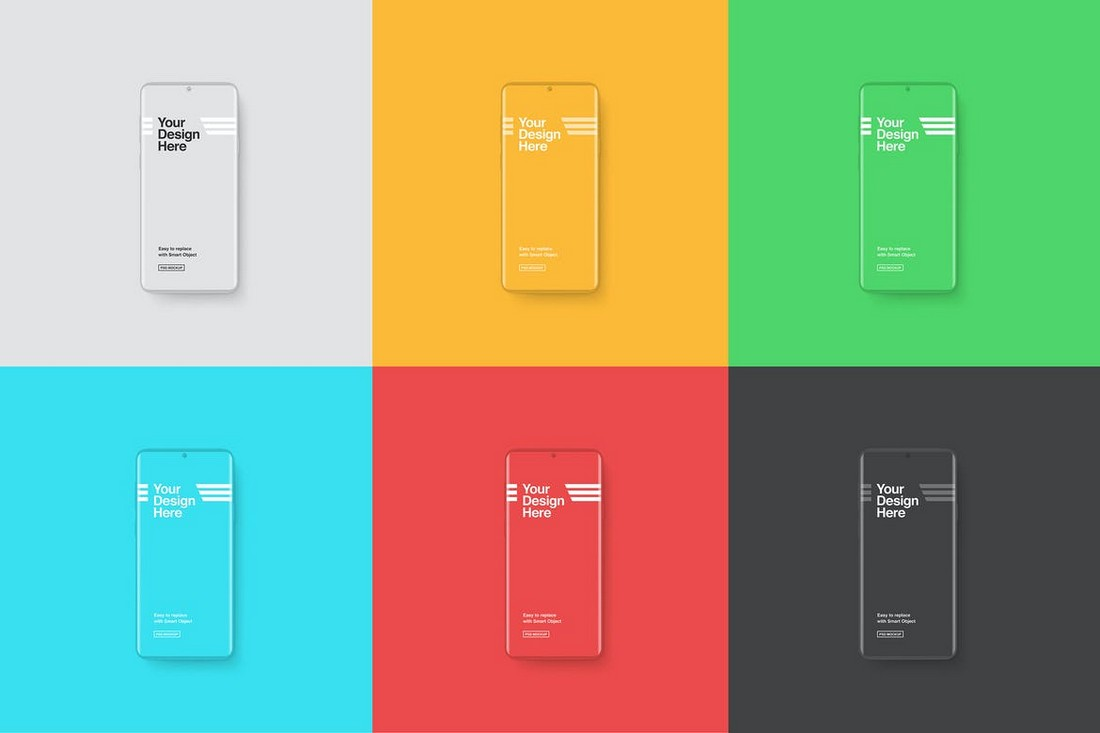 Clay Android Smartphones Mockup