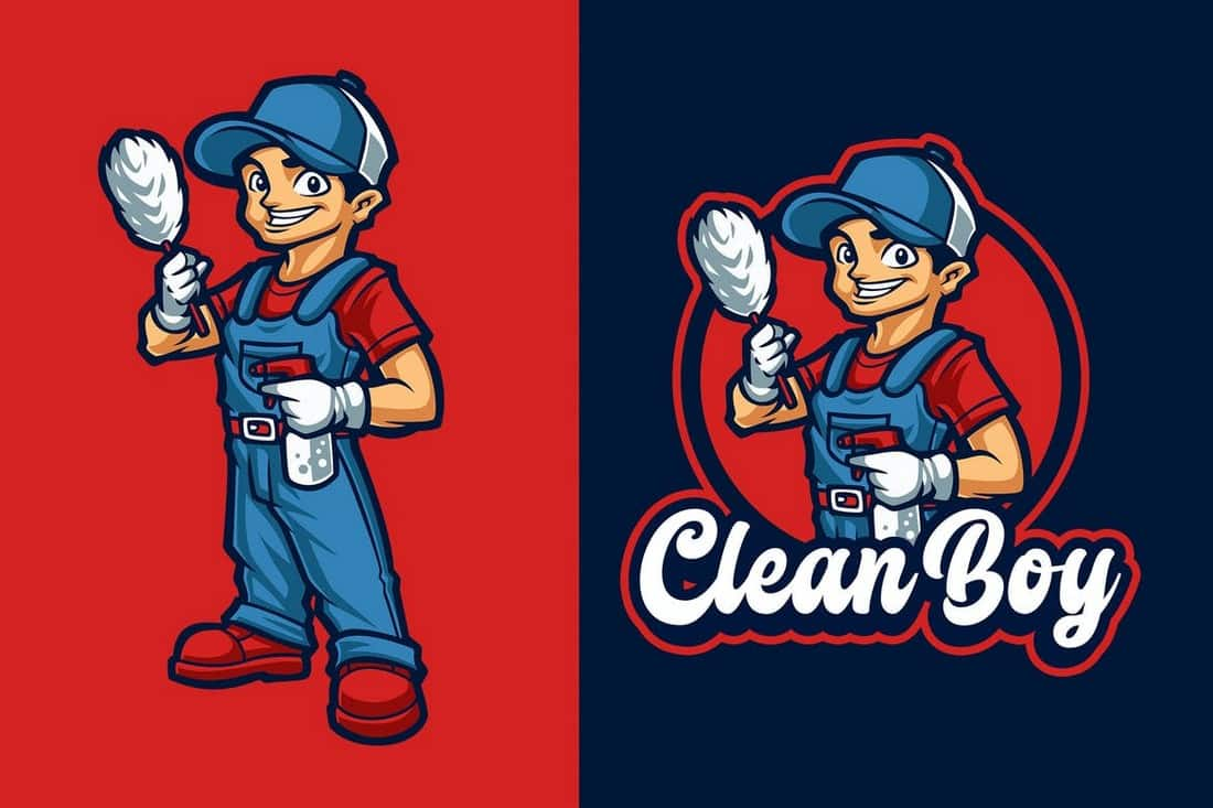 Clean Boy Mascot Logo Template