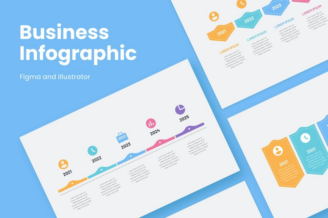 Clean Business Infographics for Illustrator